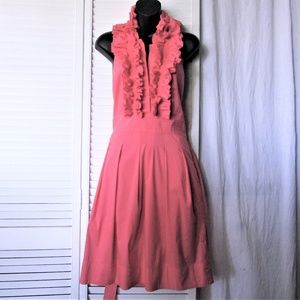 BCBGMaxazria coral ruffle neck open back dress 10